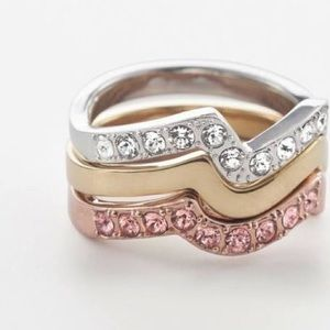 Touchstone Crystal Color Wave Rings